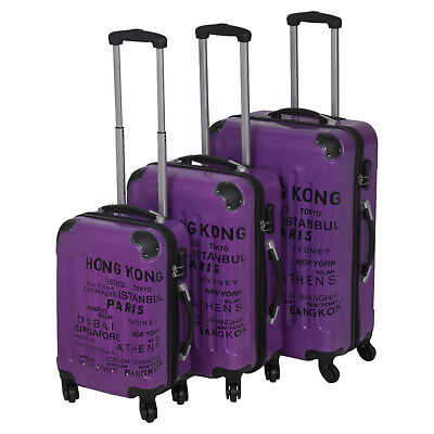3pc Purple ABS 4 Wheel Spinner Suitcase Set Hard Shell Luggage Baggage Cases New