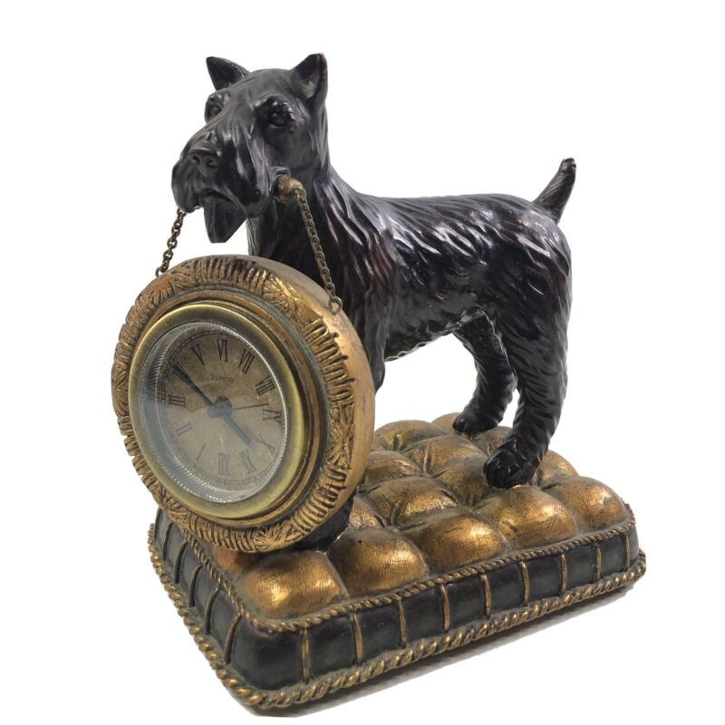 7 Inch Irish Terrier Dog Figurine Holding Mantle Clock Statue
