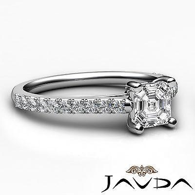Asscher Diamond Double Prong Set Engagement Ring GIA G VS2 18k White Gold 0.8Ct 2