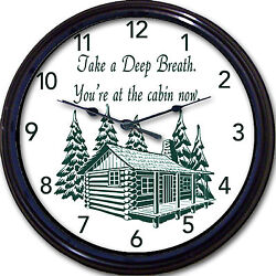 Lake Mountain Cottage Wall Clock You're at the Cabin Now Lodge Vacation 10