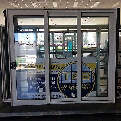 Aluminium Stacker Door 2415H x 2690W (Item 4977) Surfmist DOUBLE GLAZED