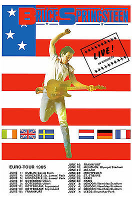 1970's Classic Rock:  Bruce Springsteen European Tour Poster 1985