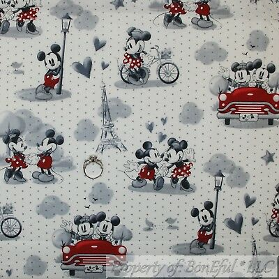 BonEful FABRIC Cotton Quilt Old White Black B&W Mickey Minnie Mouse Disney -