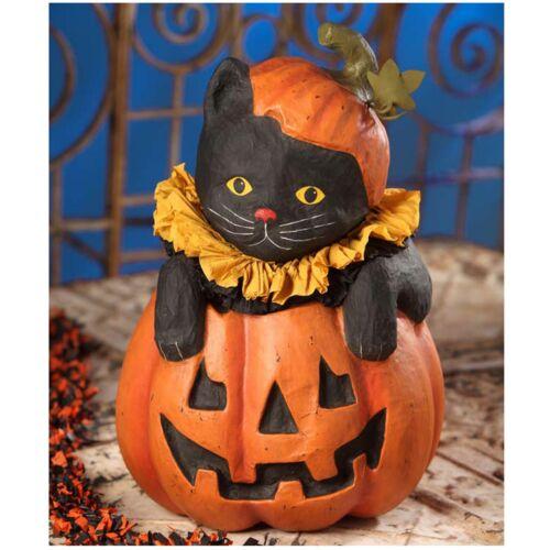 "Bethany Lowe 19"" Black Cat In Jack O Lantern Large Retro Vntg Halloween Decor"