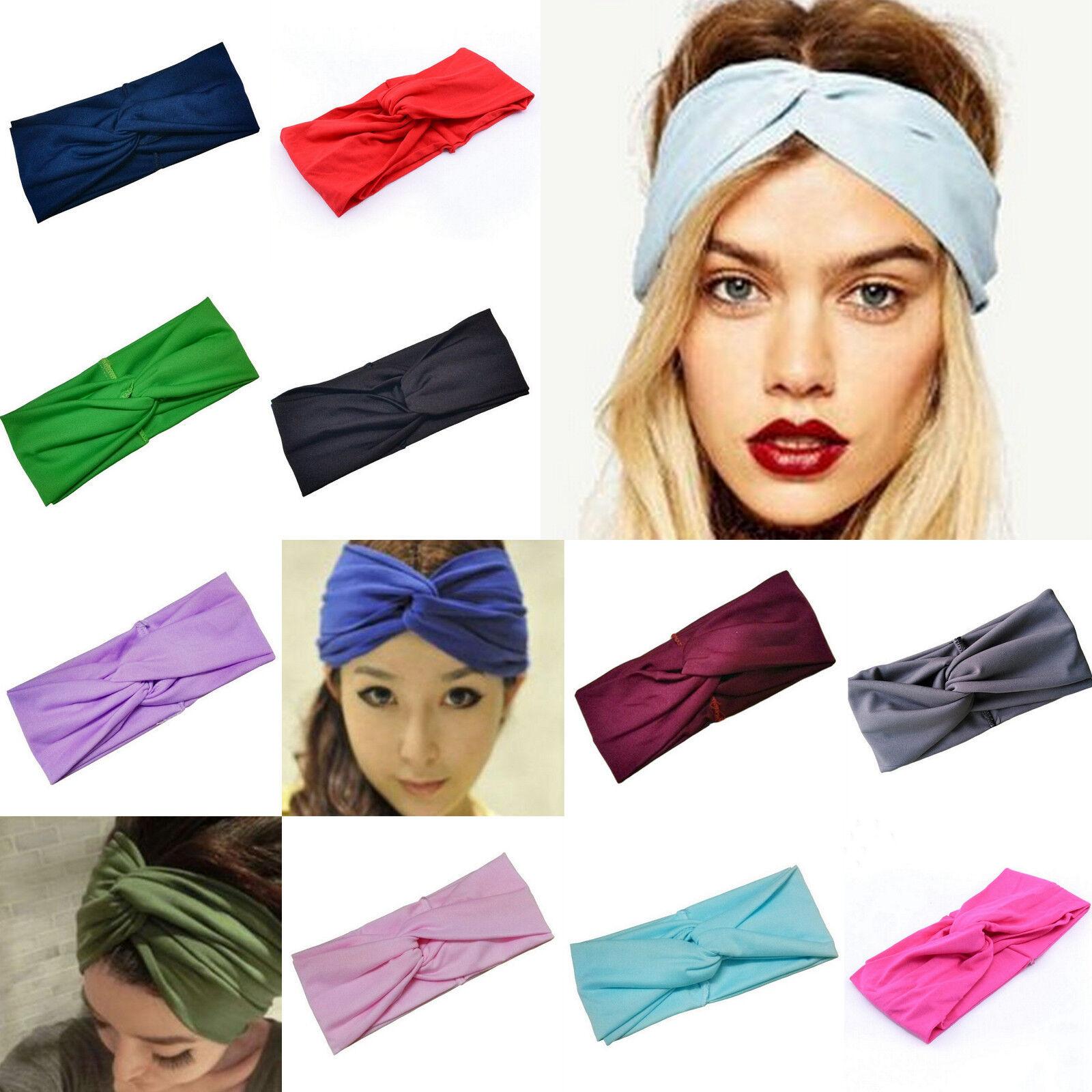Haarband Damen 22x9 cm Farbwahl Stretch Bandana Kopfschmuck Stirnband Sport Yoga