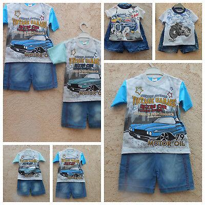 2 teiliges  Baby Jungen-Set: Jeans-Short + T-Shirt Baby-jungen-set