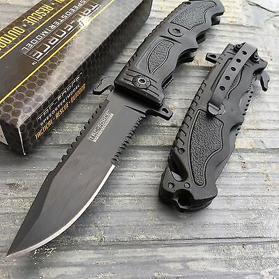Black Rescue Blade - Tac Force Speedster Black Serrated Blade Rescue Folding Pocket Knife