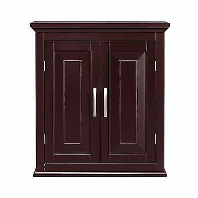 Alfa Wall Cabinet/Cupboard w 2 Doors for Bathroom/Kitchen Storage, Dark Espresso