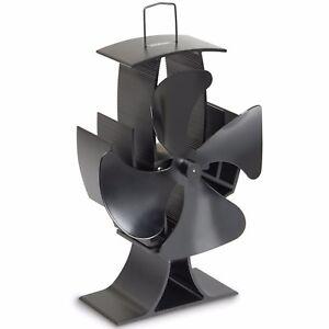 VonHaus 4 Blade Heat Powered Wood Log Burning Fire Burner Mini Stove Top Fan