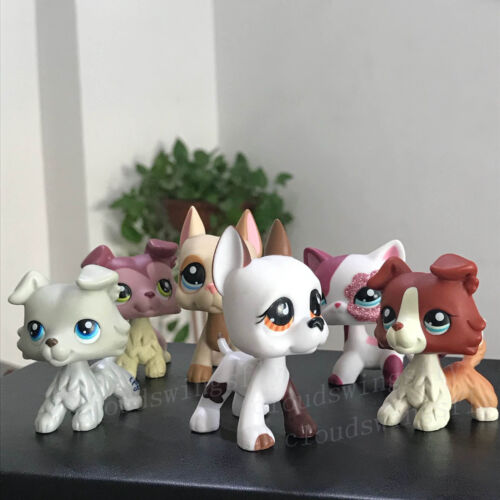 Купить 6 lot Rare Littlest Pet shop LPS Toy Great Dane Dogs Collie Cat Collection Gift