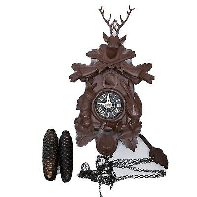 Vintage German Black Forest Cuckoo Clock E. Schmeckenbecher Hand Carved