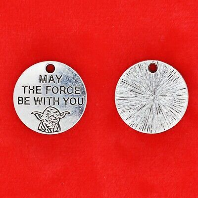 5 x Tibetan Silver Star Wars Yoda - 'May The Force Be With You' Charm Pendants