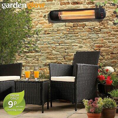 Garden Glow 2000W Wall Mounted Halogen Quartz Patio Heater Outdoor BBQ Fire NEW