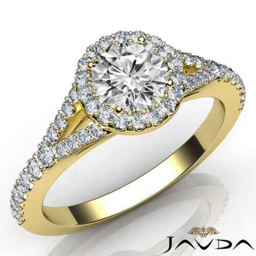 Halo Split Shank Round Diamond French U Pave Set Engagement Ring GIA F VS2 1Ct