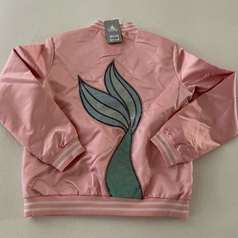 Disney Ariel Satin Varsity Wome's Jacket - Pink- Sz LARGE NWT 💯AUTHENTIC $60