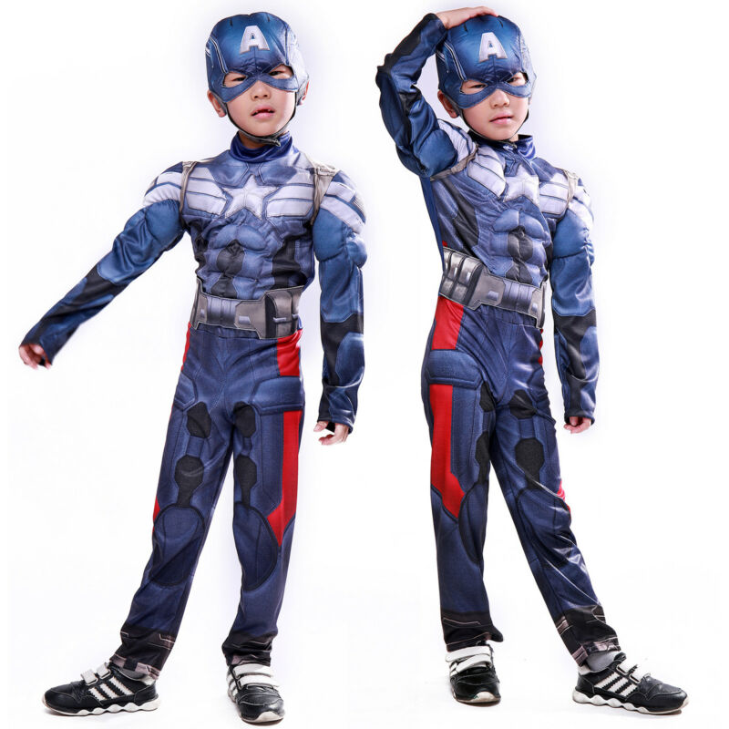 Captain America Cosplay Jumpsuit Kids Boys Bodysuit Mask Fan