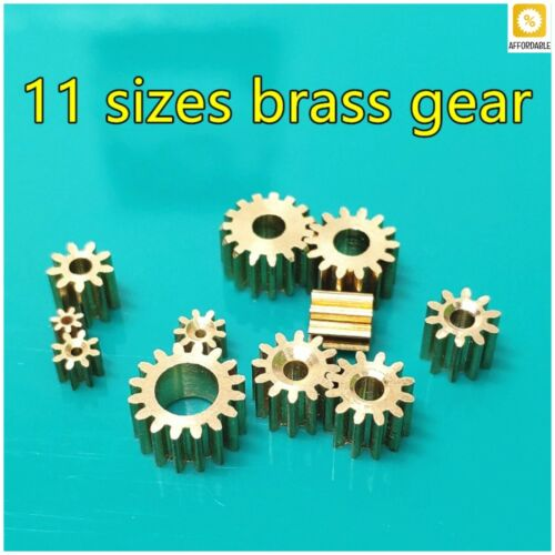 Brass Shaft Gears Metal Motor Teeth Copper Axis Gears Sets DIY Helicopter Robot