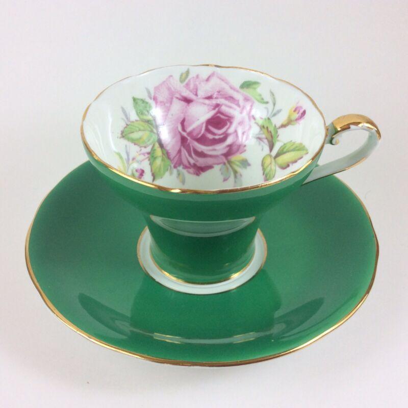 Aynsley Pink Rose Green Bone China Corset Tea Cup And Saucer