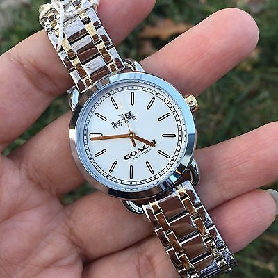 NWT!Coach 14502386 Women's Madison Two-Tone Gold/Silver White DIAL Watch $250