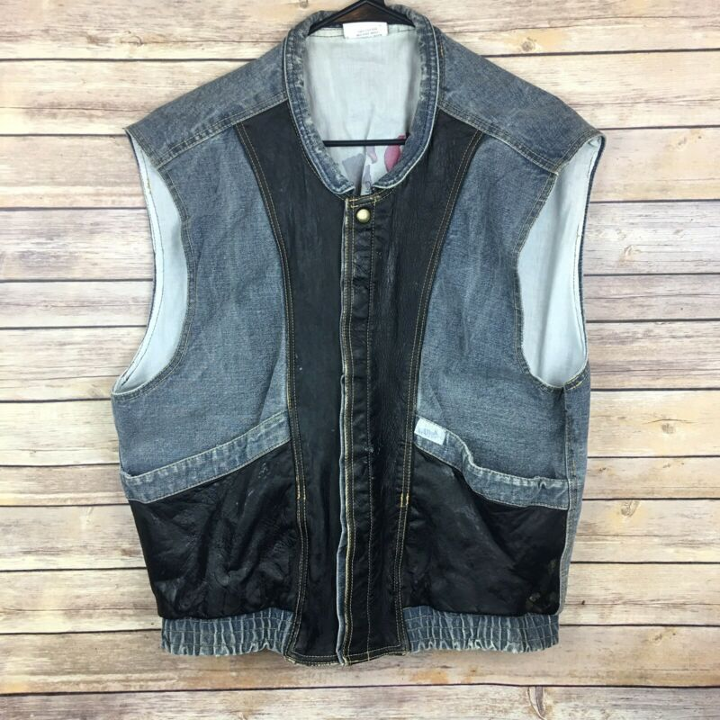 VINTAGE GUESS GEORGES MARCIANO Men's Lg Snap Up Denim Leather Vest 80