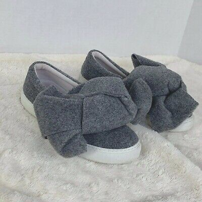 Joshua Sanders Gray Felt Bow Slip On Sneakers Shoes Sz EU 37 US 6.5 Italy