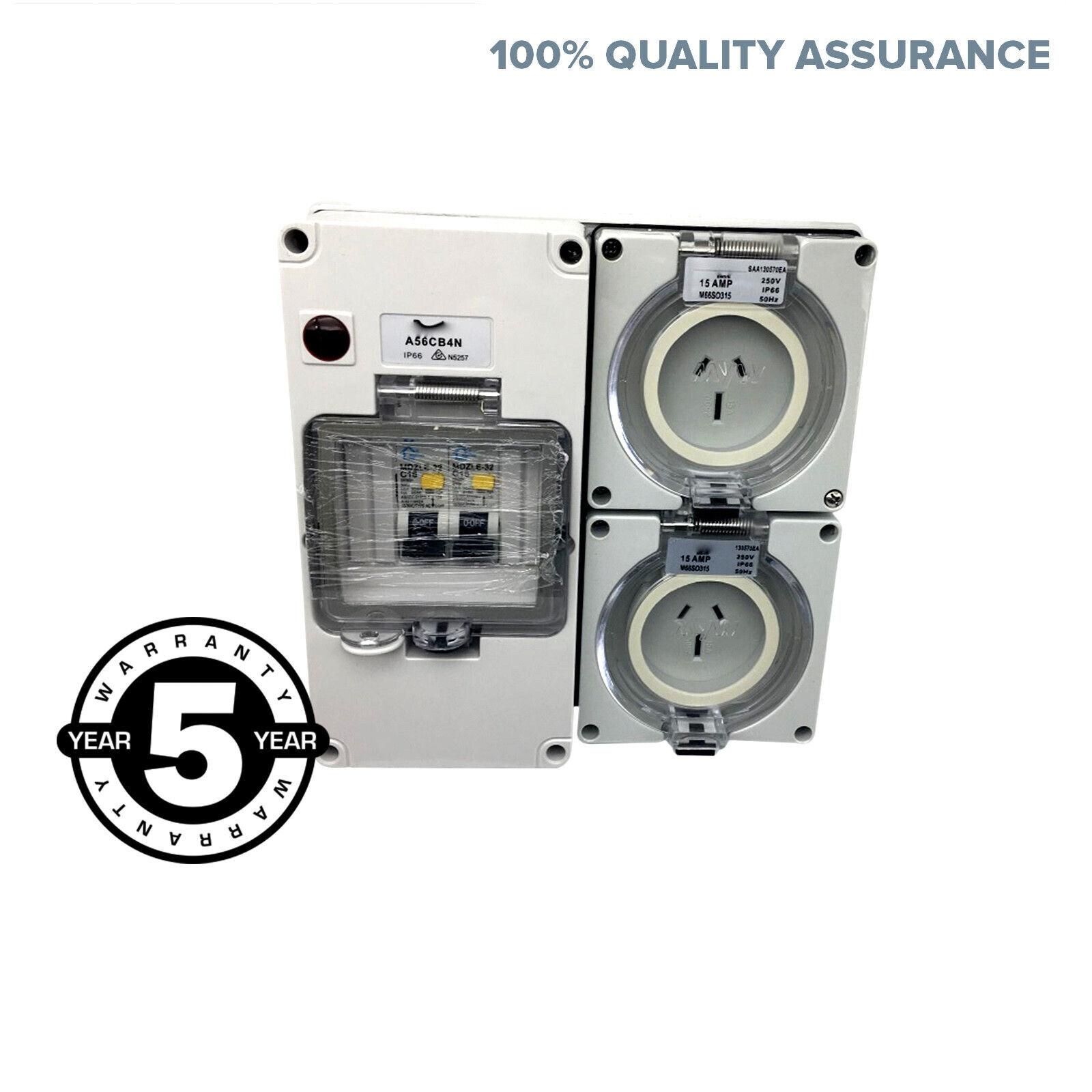 2x 15 Amp 3 Pin Socket Rcd Mcb Outlet Switchboard 4 Pole Ip66 Weatherproof Rcbo Ebay