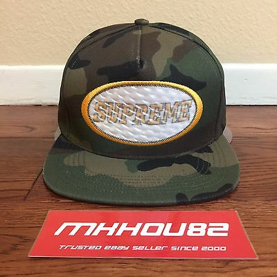 New Supreme Overlay Hologram 5-Panel Cap Hat Woodland Camo Camp Fall Winter 2016