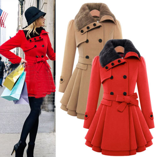 Women Thicken Fur Collared Winter Long Peacoat Coat Trench Outwear Jacket Dress 4