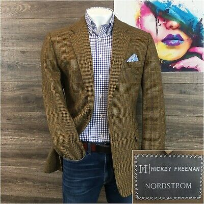 Hickey Freeman Madison Sport Coat Blazer Windowpane Wool Mens Size 44L 2 Button