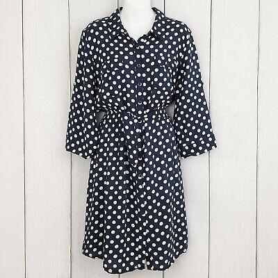 MILLENIUM sz XL Blue White Polka Dot Roll Tab Sleeves Shirt Dress Button Down