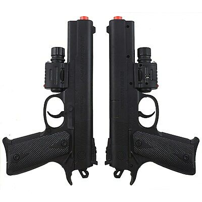 2 PACK SPRING AIRSOFT PISTOL LED LASER SIGHT FLASHLIGHT HAND GUN w/ 6mm BB BBs