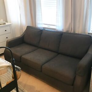 Charcoal Three-Seater Fabric Couch, in Great Shape