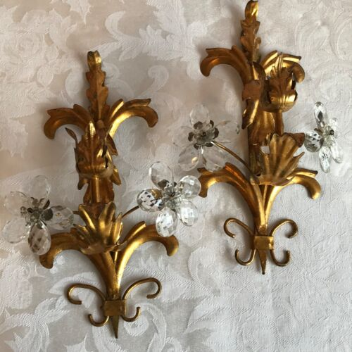 VINTAGE PAIR ITALIAN GILT TOLEWARE CANDLE WALL SCONCES MURANO CRYSTAL FLOWERS