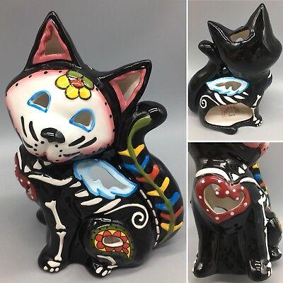 Blue Sky Sugar Skull Cat Black Skeleton T-light Candle Holder Halloween Day Dead ()