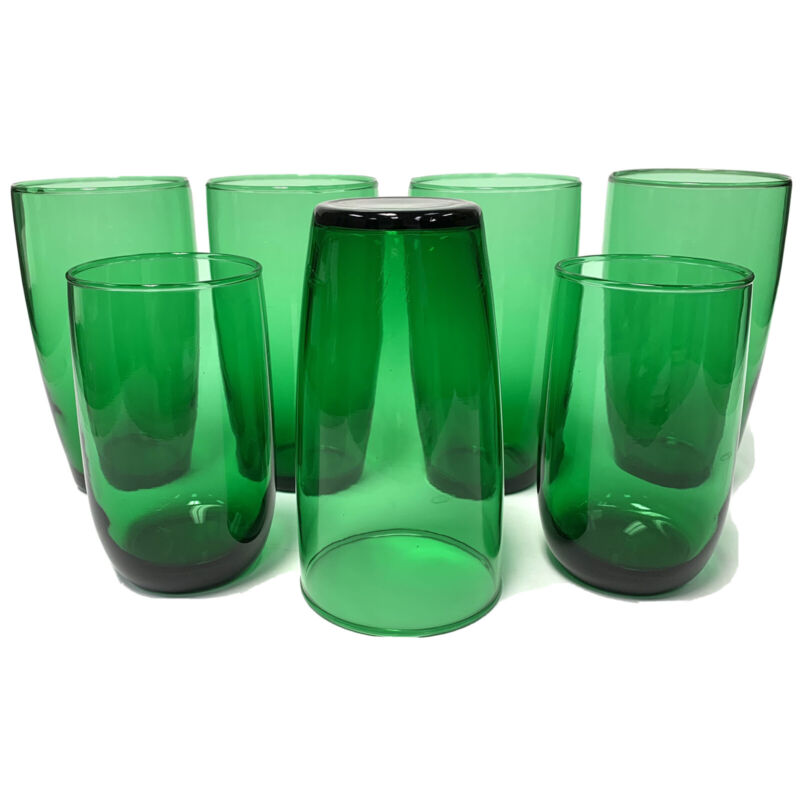Anchor Hocking Forest Green Roly Poly Tumblers Glasses Set Of 5 Tumblers 2 Juice