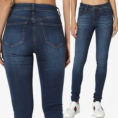 TheMogan Basic 5 Pocket Mid High Waist Dark Blue Wash Stretch Denim Skinny - Blues Basic 5 Pocket Jeans