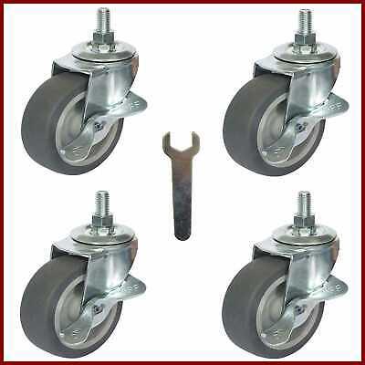 Caster Wheels Stem Casters Set Of 4 3 38 16x1 Threaded Mount Industrial Cast