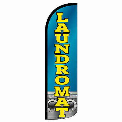 Laundromat Blue Windless Advertising Sign Feather Flag Only Banner 30 Wider