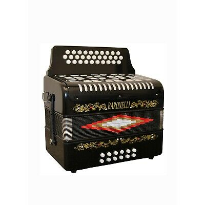 Baronelli Full Size 31 Button 12 Bass Accordion, GCF, With Straps, Case, Black