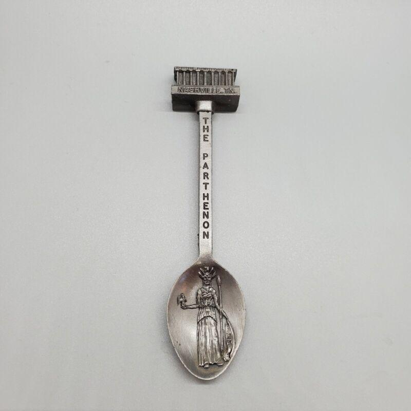 "Nashville Tennessee Parthenon Souvenir Spoon - 4"" Long - Pewter? - EUC"