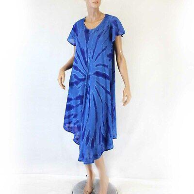 Advance Apparels Sundress Blue Embroidery Tie Dye Dress O/S fits XL/1X ()