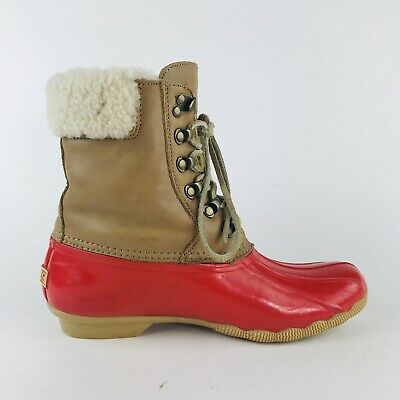 Sperry Topsider for J. Crew Red Shearling Duck Boots Women's Size 8