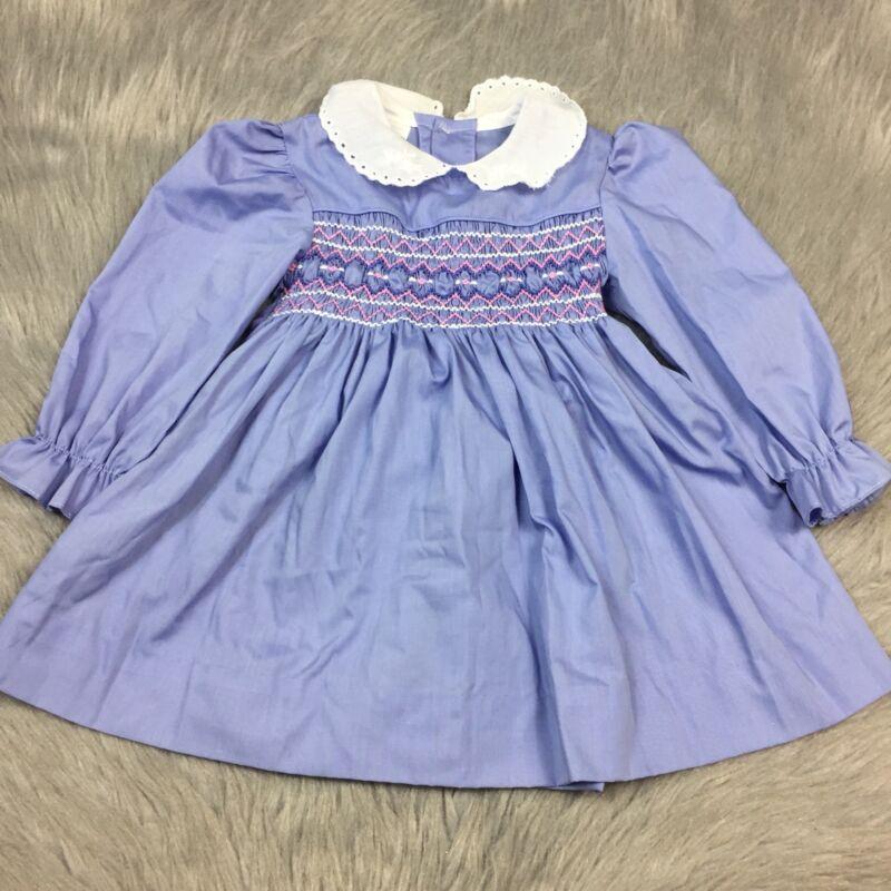 Vintage Polly Flinders Toddler Girls Purple Pink Smocked Long Sleeve Dress
