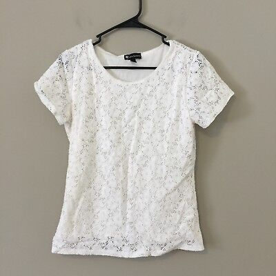 Valerie Bertinelli Size L White Crochet Overlay Lined Knit Top Shirt