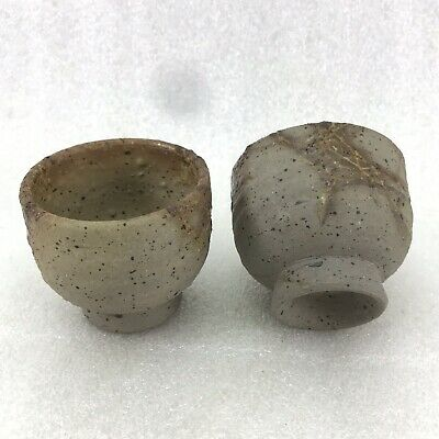 SC54 Japanese Sake Tea  cup, Bizen Ware Artist Signed Set Of 2