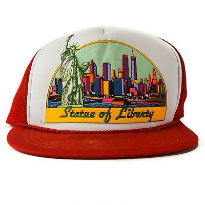 Vintage Statue of Liberty Trucker Hat Foam Mesh New York City Skyline NY Red  - Statue Of Liberty Hats
