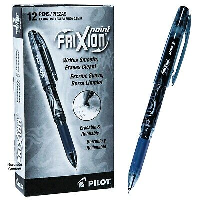 Pilot 31573 Black Frixion Point 0.5mm Extra Fine Erasable Gel Ink Pens Box Of 12