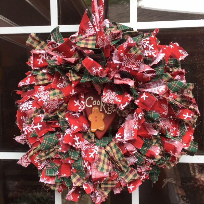 """HANDMADE 15"""" CHRISTMAS 4 LAYER RAG WREATH W/ COOKIE- RUSTIC PRIMITIVE COUNTRY"""