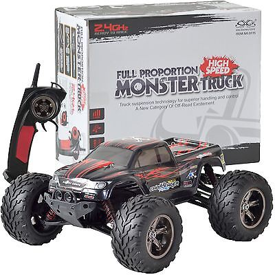 Large Remote Control RC Kids Big Wheel Toy Car Monster Truck - 2.4 GHz 9.6V RED