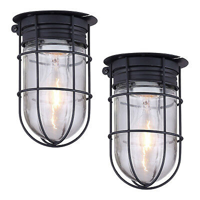 2 Pack Outdoor Caged Light Barn Ceiling Exterior Wall All Weather Cage, Black